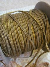 Rare Antique 1920 French Gold Metal Metallic Woven Braided Soutache Trim 2 Yards