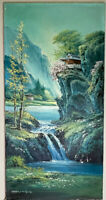 Vintage Asian Painting Mountain Waterfall Pagoda Landscape Oil Painting Signed