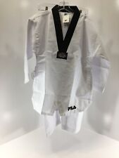 Fila Unisex Youth 2 Pc Taekwondo Uniform Top & Pants Set White/Black Us:14 Nwt @