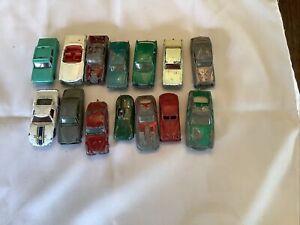 14 Vintage matchbox Lesney Cars Including Jaguar Rare Red 3.4litre, Mercedes, Fo