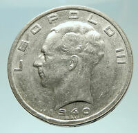 1940 BELGIUM King Leopold III 9 Shields Genuine Silver 100 Francs Coin i75894
