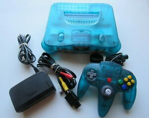 Nintendo 64 N64 Ice Blue Funtastic Console Bundle Retro System w/ OEM Controller