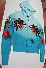 Damen a&g AMAL GUESSOUS Leoparden Dolch Herz Lost Angels blau Graphic Hoodie