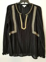 J. JILL Embroidered Lace Gauze Boho Peasant Blouse Black Size S Small