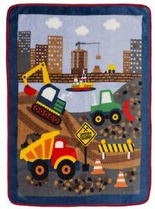 New Under Construction Dump Truck Plush Fleece Throw Gift Blanket Worker Road