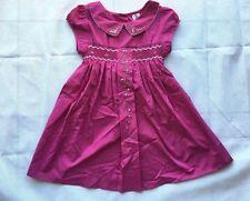 Girl's Hand-Made Embroidery Peter Pan Collar Dark Lotus Pink Dress
