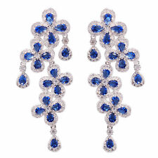 Silver Tanzanite Zircon Fashion for Women Jewelry Gemstone Stud Earrings FH6617