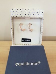 EquilibriumRose Gold Plated Diamante Ring Stud clear stone Earrings  NEW
