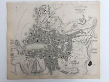 Vintage Original 1845 Topographic Map & Drawings 'Marseille' City - Spain