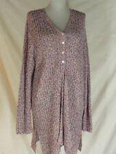 Joan Vass Silk  Knit Pink Blue Cardigan Sweater Coat S
