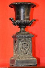 Antique French Empire neoclassical urn ornate bronze finish iron campagna vase