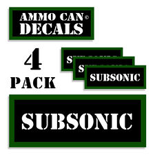 """SUBSONIC Ammo Can 4x Labels Ammunition Case 3""""x1.15"""" stickers decals 4 pack"""