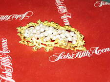 """18K GOLD NUGGET Style Brooch by """"Lj"""", oozing w/ an oodle of PEARLS, 2 1/4"""""""