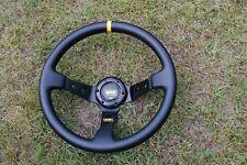 OMP 350mm Deep Dish Steering Wheel - Race / Rally / Drift BLACK Leather