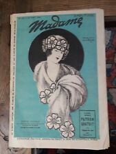 ANCIENNE REVUE Madame N°122 AOUT 1922 mode & patrons couture broderie Old patern