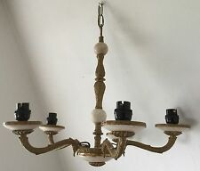 "VINTAGE MARBLE/ONYX AND GOLD PAINTED CEILING 5 LIGHT CHANDELIER 16"" T X 18"" W"