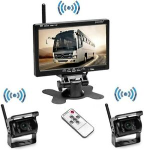 """Wireless Vehicle 2 x Backup Camera + 7"""" Monitor for RV Truck Trailer Bus Parking"""