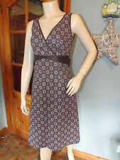Classic PHASE EIGHT Dress, Brown Mocha Purple Lilac Broiderie Anglaise , Size 8