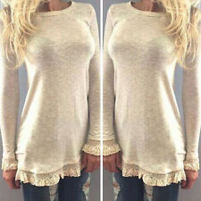 New Fashion Women Vest Top Long Sleeve Blouse Casual Lace Tank Tops T-Shirt