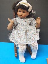 Cindy Marschner Porcelain African American Baby Doll 1993 1814/5000 IN ROCKER