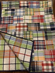 """Pottery Barn Kids Madras Twin Quilt Patchwork Reversible Multicolor 65x84"""" EUC"""