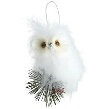 White Feather Owl Ornament, New, Pine Branch, Sisal