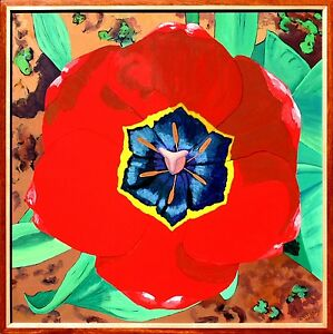 RED TULIP MANDALA  24X24 IN. TULIP FLOWER FRAMED ORIGINAL ACRYLIC PAINTING