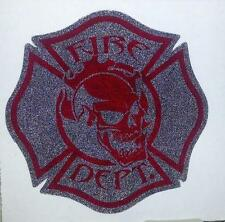 "Firefighter Window Decals, Reflective 2.25"", Skull Black and Red  #FD103"