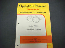 Farmhand Operators Manual,Instr/Parts List, F-101A Windrow Turner,FS561-1263