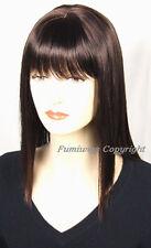 Largo en capas Recto Peluca En Color Marrón Oscuro De Fumi Wigs Reino Unido