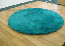 LARGE THICK SOFT ROUND SHAGGY RUG TURQUOISE BLUE 135cm