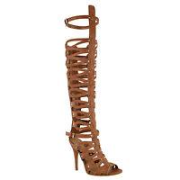 sandalias gladiador para mujer a la rodilla para playa con talla de bota