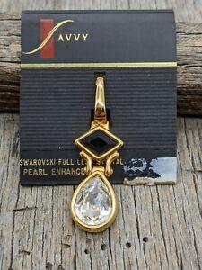 NWT Vintage Savvy Signed Swarovski Black Crystal Gold Tone Pendant Enhancer