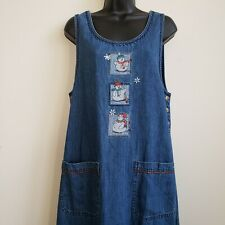 Bobbie Brooks Sz Small 4/6 Denim Long Jumper Dress Modest Winter Snowman Modest