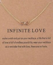 """INFINITY Love Necklace, gold dipped womens Jewelry Gift 16-18"""" forever love wish"""