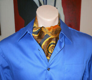 Men's 60's Psychedelic Swirl Paisley Ascot Wide Silk Amazing!!! FREE SHIPPING!!!