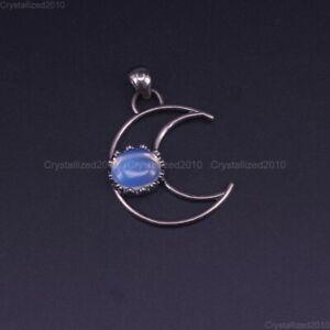 Natural Gemstone Crescen Moon Reiki Chakra Healing Pendant Beads Tibetan Silver