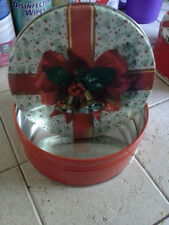 Decorative Metal Tin with Festive Holiday Bells and Ribbon Scene