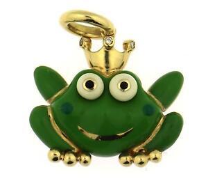 Aaron Basha 18k Yellow Gold Diamond Frog Green Enamel Charm Pendant Large $3,950