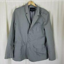 Structure Gray Safari Field Jacket Style Blazer Sportcoat Mens L 3 Button