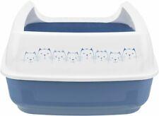Katzentoilette Delio mit Rand blau weiß Katzen Toilette Katzenklo Katze Klo WC