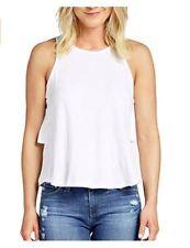 Bobi Top Women MEDIUM White Ruffle Back A-Line Sleeveless Tank 100% Cotton NEW