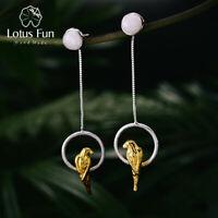 Handmade Chalcedony Parrot Bird Solid 925 Silver Fine Jewelry Long Drop Earrings