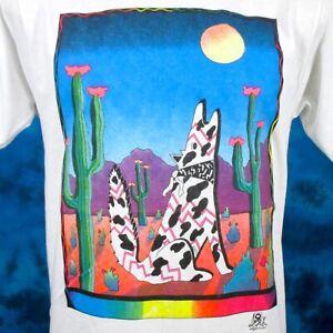 vintage 80s HOWLING WOLF DESERT SUNSET CARTOON T-Shirt M/L native american moon