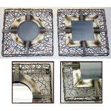 SET/2 SQUARE WALL MIRRORS 36CM X 36CM WIRE WORK FRAME WALL ART