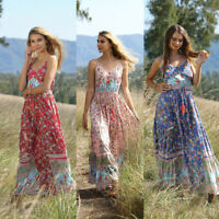 Boho Womens Floral Spaghetti Strap V Neck Maxi Dress Summer Casual Party Swing