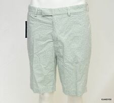 Nwt Polo Ralph Lauren Men's Flat Front Checked Cotton Shorts Pant Green/White 36