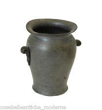 Vasetto con Manici in Peltro inizi '900 Anfora Vintage Old Pewter Vase Antiques