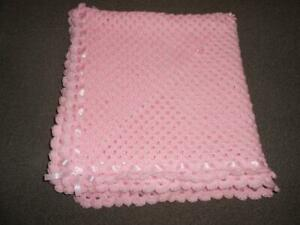BABY PINK CROCHET BABY BLANKET 40 INCH , REBORN, NEW BABY, PHOTO PROP , SHAWL,