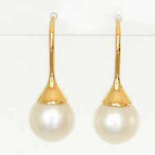SOUTH SEA PEARL EARRINGS 9.5mm CULTURED PEARLS REAL 14K GOLD HOOKS GIFTBOXED NEW